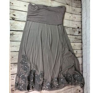 INC Gray Embroidered XL Maxi Skirt
